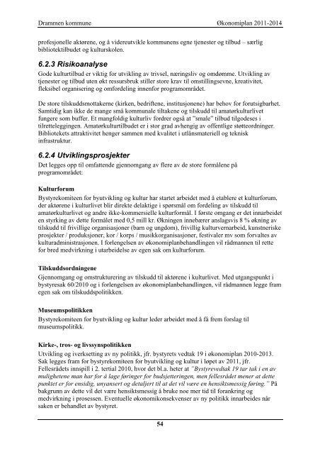 Økonomiplan 2011 - Drammen kommune