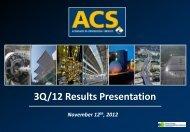3Q/12 Results Presentation - Grupo ACS