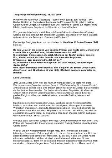 Taufpredigt am Pfingstmontag, 16. Mai 2005 Pfingsten ... - Johannes