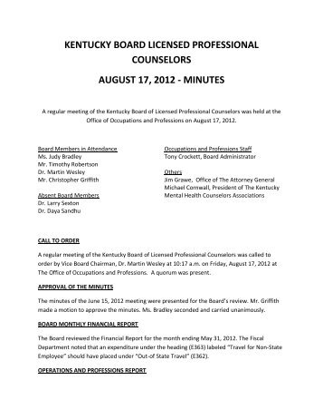 Meeting Minutes, August 17, 2012 - Board of Licensed Professional ...