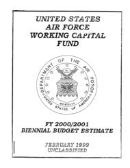 Working Capital Fund, FY00 - Air Force Financial Management ...