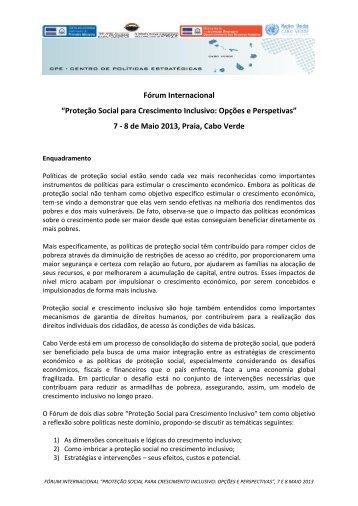 """Fórum Internacional """"Proteção Social para Crescimento Inclusivo ..."""