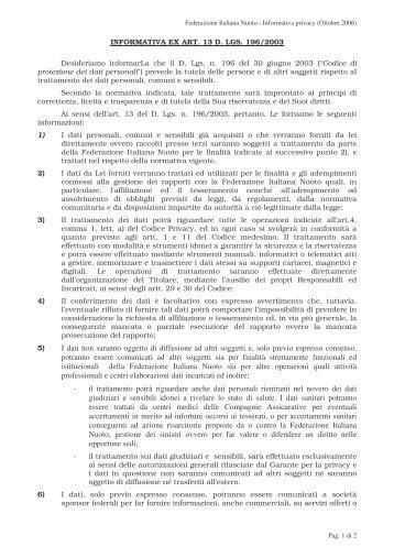 Informativa sulla Privacy - FIN Sicilia