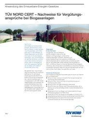 Nachweise für Vergütungs- ansprüche bei Biogasanlagen - TÜV Nord