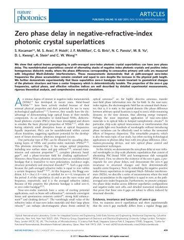 Zero phase delay in negative-refractive-index photonic crystal ...