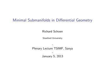 Minimal Submanifolds in Differential Geometry