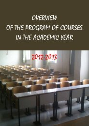 overview of the program of courses in the academic year 2012-2013