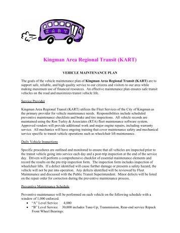 VEHICLE MAINTENANCE PLAN - City of Kingman