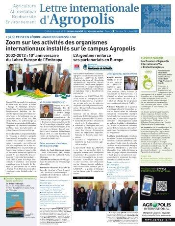 lettre internationale Agropolis n° 14 juin 2013 - Agropolis International