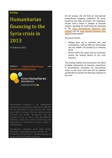 Humanitarian financing to the Syria crisis in 2013 - Global ...