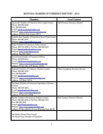 2013 Montana Chamber Directory - Montana Chamber of Commerce