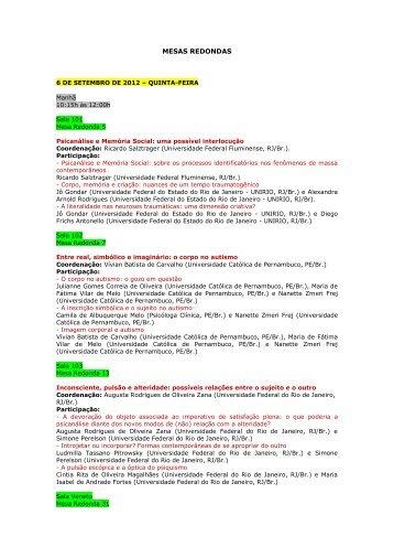 MESAS REDONDAS - Laboratório de Psicopatologia Fundamental