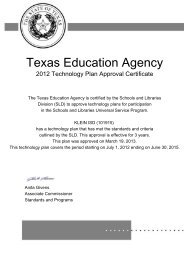 Texas Education Agency - Klein Independent School District