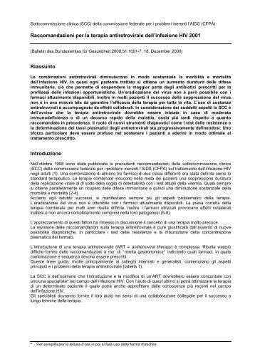 Raccomandazioni per la gestione della terapia antiretrovirale - hiv.ch