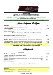 Salate, Vorspeisen & Suppen Hauptgerichte - Restaurant Sternen