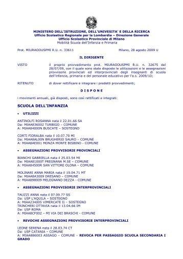 Decreto di rettifica e integrazione degli utilizzi e assegnazioni ...