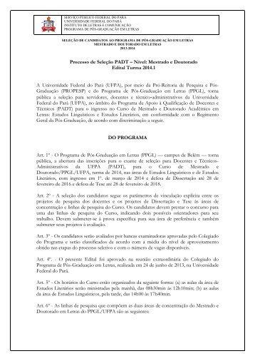 Processo de Seleção PADT – Nível: Mestrado e Doutorado ... - ascom