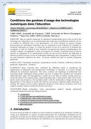 Conditions des genèses d'usage des technologies numériques ...