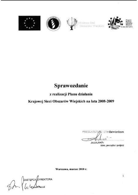 Sprawozdanie z realizacji Planu działania KSOW na lata 2008-2009