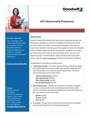 Download the 2013 Sponsor Prospectus - Goodwill Industries ...