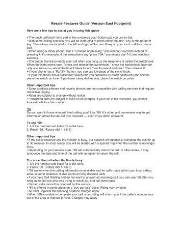 Resale Features Guide (Verizon East Footprint)