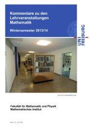 Kommentiertes Vorlesungsverzeichnis WS 2013/2014