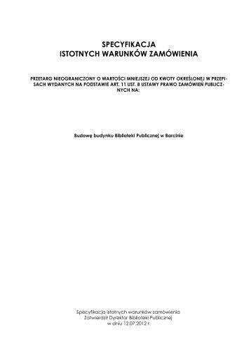 SIWZ - Biuletyn Informacji Publicznej Gminy Barcin