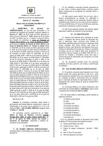 EDITAL Nº. 026/2008 RESULTADO DO EXAME DOCUMENTAL E ...