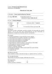 Unidade: INSTITUTO DE BIOCIENCIAS Departamento: ECOLOGIA ...