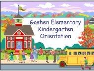 Kindergarten Orientation - Goshen Elementary School