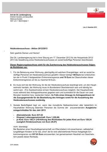 _ Heizkostenzuschuss - Aktion 2012/2013 Sehr geehrte Damen und ...