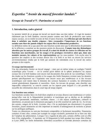 "Expertise ""Avenir du massif forestier landais"" - GIP-Ecofor"