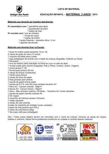 lista de material educação infantil – maternal 2 anos - 2013