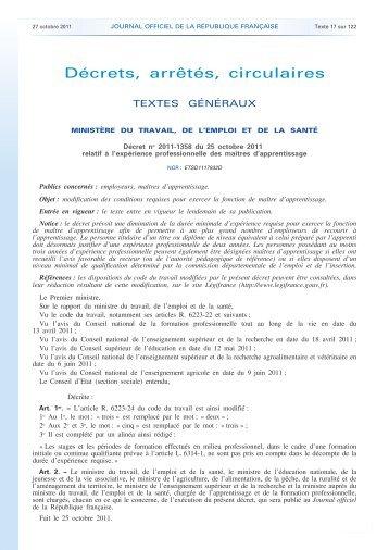 Apprentissage - Décret n° 2011-1358 - Journal officiel ... - CCI du Jura