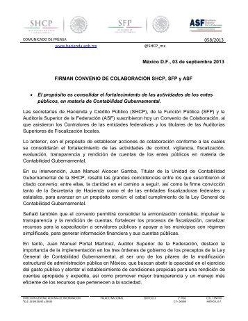 FIRMAN CONVENIO DE COLABORACIÓN SHCP, SFP y ASF - conac