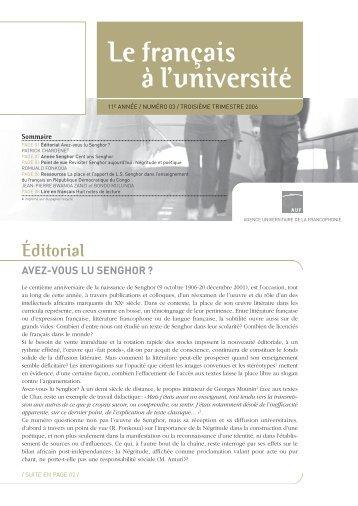 Avez-vous lu Senghor - Le français à l'université - AUF