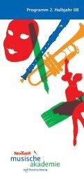 Programm 2. Halbjahr 08 - Musische Akademie