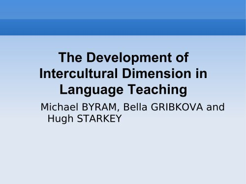 developing the intercultural dimension in language teaching