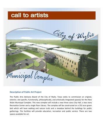 Description of Public Art Project - City of Wylie