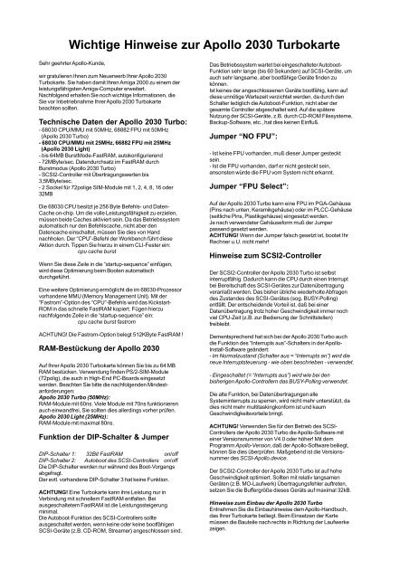 Apollo 2030 - Amiga Hardware Database