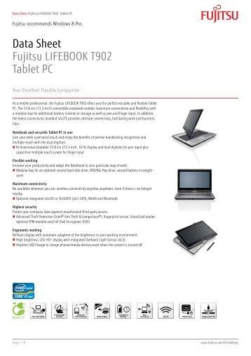 Data Sheet Fujitsu LIFEBOOK T902 Tablet PC