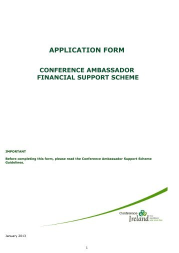 Conference Financial Support Application - Meet In Ireland