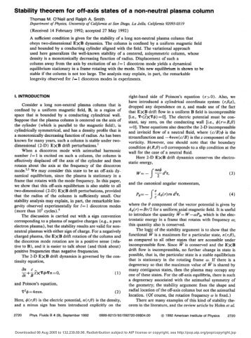 Stability theorem for off-axis states of a non-neutral plasma column
