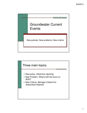 Groundwater Current Events