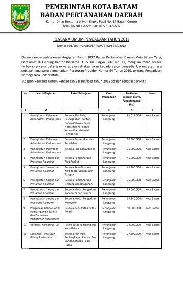 rencana umum pengadaan tahun 2012 - SKPD Pemerintah Kota ...