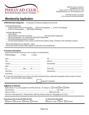 Membership Application – Current - Philly Ad Club