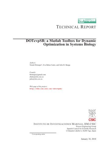 DOTcvpSB: a Matlab Toolbox for Dynamic Optimization in Systems ...