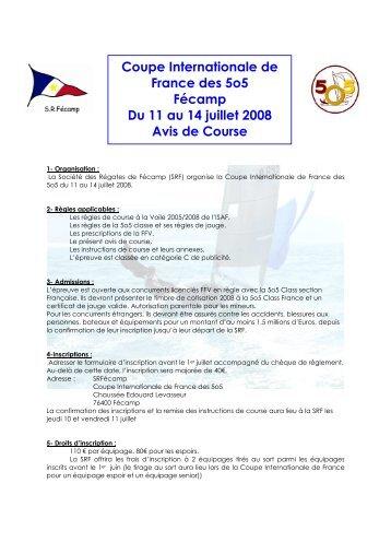 Avis de Course National 5o5 Fécamp - 5O5 Class France