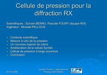 Cellule de pression pour la diffraction RX - Laboratoire de Physique ...