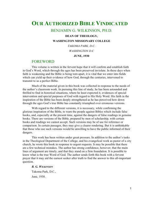 Our Authorized Bible Vindicated pdf - SDADefend